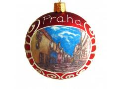 Vánoční koule 8cm motiv Zlatá ulička na Pražském hradě www.sklenenevyrobky.cz