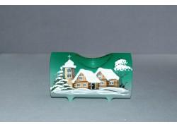 Svícen, ve tvaru vánočního válce ze skla, v zeleném dekoru