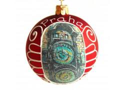Vánoční koule 8cm motiv Pražský orloj v červeném dekoru www.sklenenevyrobky.cz
