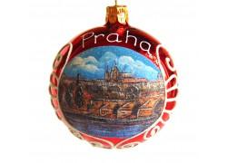 Vánoční koule 8cm motiv Pražský hrad v červeném dekoru www.sklenenevyrobky.cz