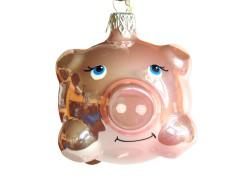 Christmas ornament, pink piggy www.sklenenevyrobky.cz