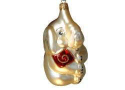 Vianočná ozdoba malý slon, s červeným vankúšom 2040 www.sklenenevyrobky.cz