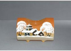 Svietnik, v tvare vianočného valec zo skla, oranžový dekoru