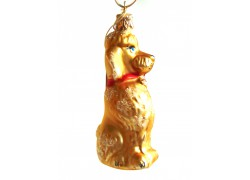Christmas decoration, poodle dog in gold matt www.sklenenevyrobky.cz