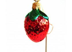 Retro vánoční ozdoba jahoda www.sklenenevyrobky.cz