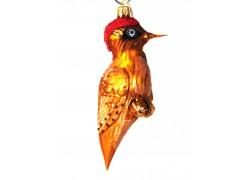 Christmas ornament, gold-brown woodpecker www.sklenenevyrobky.cz