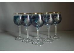 Sklenice na víno Diana 190ml listr set 6 ks dekor víno modrá