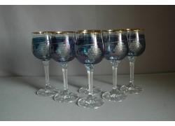 Poháre na víno, 6 ks, s dekorom hroznového vína, v modrej