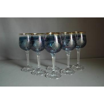 Diana 190ml listr set 6ks dekor víno modrá