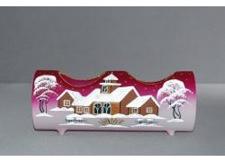 Svícen, vánoční válec ze skla, na dvě svíčky, růžovo-fialový