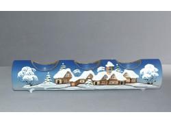 Svícen, vánoční válec ze skla, na tři svíčky, v modrém dekoru