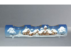 Svietnik, vianočný valec zo skla, na tri sviečky, v modrom dekore