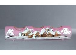 Svícen, vánoční válec ze skla, na tři svíčky, v růžovém dekoru