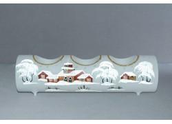 Svícen, vánoční válec ze skla, na tři svíčky, bílý