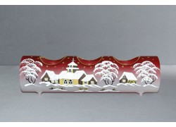Candlestick, christmas roller made of glass, three candles, red