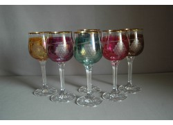 Sklenice na víno, 6 ks, s dekorem hroznového vína