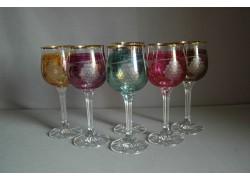 Sklenice na víno Diana 190ml listr set 6 ks dekor víno 6 barev