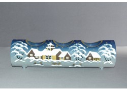 Candlestick, christmas roller made of glass, three candles, blue