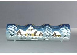Svietnik, vianočný valec zo skla, na tri sviečky, modrý