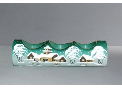Candlestick, christmas roller made of glass, three candles, green