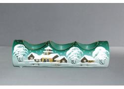Svietnik, vianočný valec zo skla, na tri sviečky, zelený
