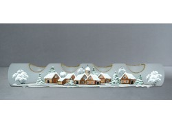 Svícen, vánoční válec ze skla, na čtyři svíčky, bílý dekor