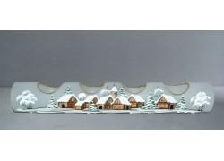 Svietnik, vianočný valec zo skla, na štyri sviečky, biely dekor