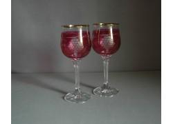 Poháre na víno, 2 ks, dekor hroznového vína, v červenej