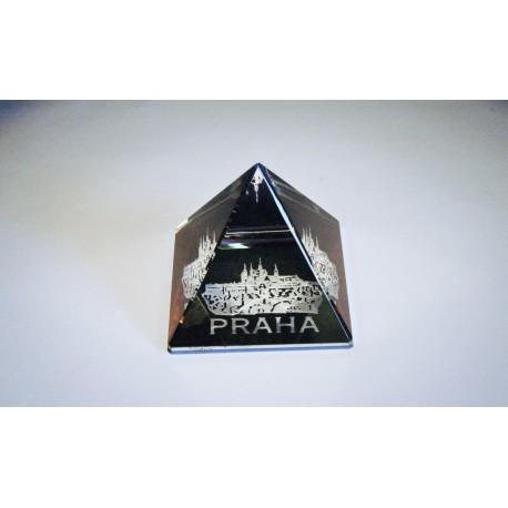 Pyramida pískovaná 50 mm pokovená Praha I - hrad s mostem