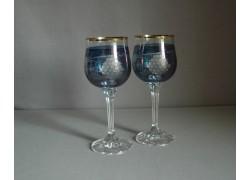 Poháre na víno, 2 ks, dekor strapec hrozna, v modrej
