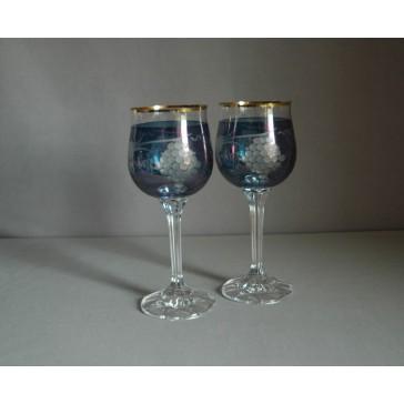 Poháre na víno, 2 ks, dekor strapec hrozna, v modrej www.sklenenevyrobky.cz