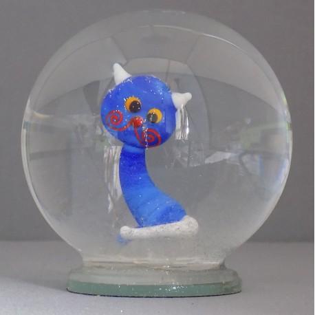 Sněžící koule Modrá kočka 10 cm