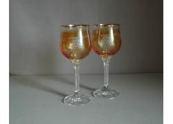 Poháre na víno, 2 ks, dekor strapec hrozna, v žltej