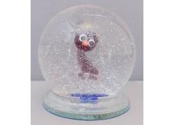 Sněžící koule a malá kočka - fialová