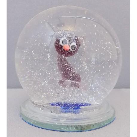 Sněžící koule a malá kočka - fialová www.sklenenevyrobky.cz