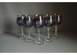 Poháre na víno, 6 ks, s dekorom kvetina, v modrej farbe