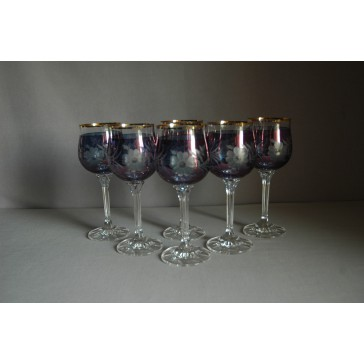 Poháre na víno, 6 ks, s dekorom kvetina, v modrej farbe www.sklenenevyrobky.cz