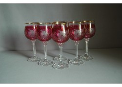 Sklenice na víno Diana 190ml listr set 6 ks dekor kytka červené