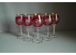 Poháre na víno, 6 ks, s dekorom kvetina, v červenej farbe