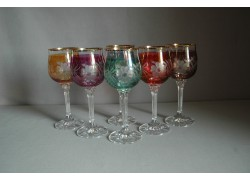Wine glass, 6 pcs, flower decor, Satin box www.sklenenevyrobky.cz