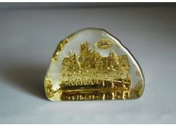 Plaketa Pražský hrad ze skla 10x7,5x3 cm barva zlatá
