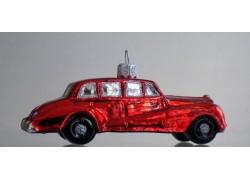 Vánoční retro ozdoba Rolls Royce v červeném dekoru www.sklenenevyrobky.cz