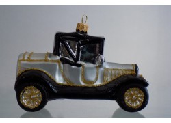 Weihnachtsschmuck Auto Veteran Silber www.sklenenevyrobky.cz