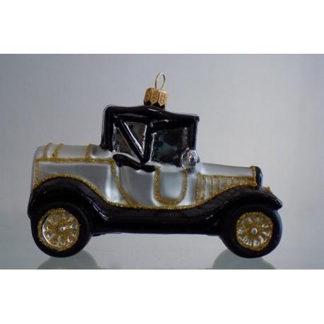 Christmas ornament car veteran silver www.sklenenevyrobky.cz