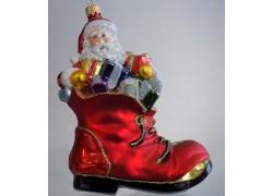 Vánoční ozdoba Santa Claus s dárky v botě www.sklenenevyrobky.cz