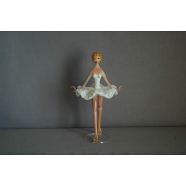 Skleněná baletka 14cm bílá