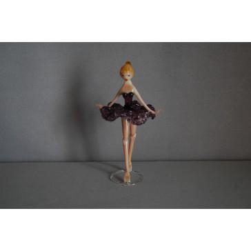 Skleněná baletka 14cm fialová