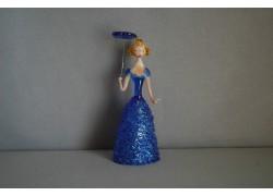 Figurine ladies with parasol in blue dress www.sklenenevyrobky.cz