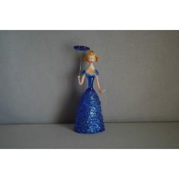 Skleněná rokoková dáma 13cm s deštníkem modrá