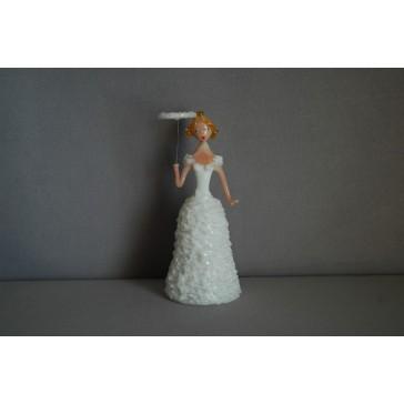 Skleněná rokoková dáma 13cm s deštníkem bílá